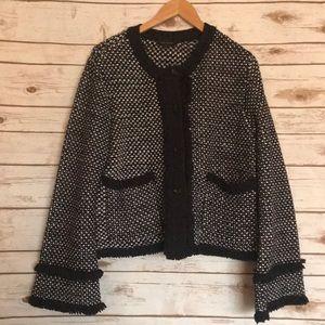 Ann Taylor tweed fringe blazer jacket NWOT